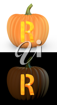 R letter carved on pumpkin jack lantern isolated on and white background