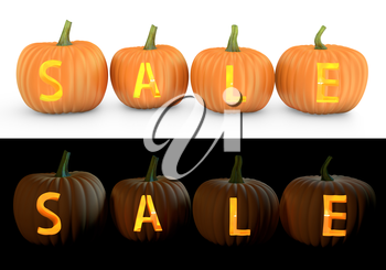 Sale text carved on pumpkin jack lantern isolated on and white background