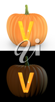 V letter carved on pumpkin jack lantern isolated on and white background
