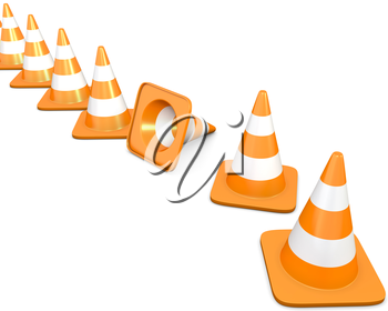 Diagonal line of traffic cones with one fallen cone, isolated on white background