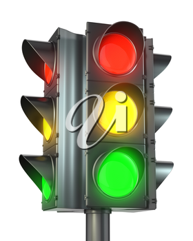 Four sided traffic light with red, yellow and green lights isolated on white background