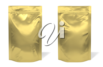 Golden foil bag package isolated on white background
