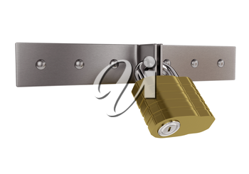 Gold padlock on the metal door isolated on white background. 3d illustration.