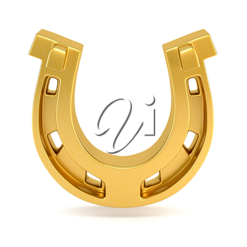 Gold horseshoe isolated on white background. 3d illustration.