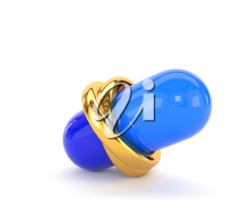 Wedding gold rings and medical capsule isolated on white background. The concept of aid sexual relations in marriage. 3d illustration.