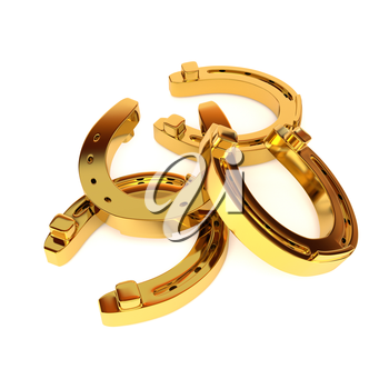Set of gold horseshoes with highlights and shadows, isolated on white background. 3d illustration.