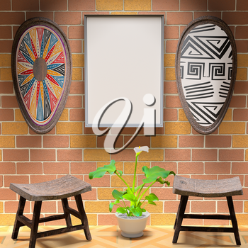 Mocap African interior living room. Empty paintings and shield with African patterns on the brick wall. Two wooden chair and a vase on the bright floor tiles. 3d rendering.