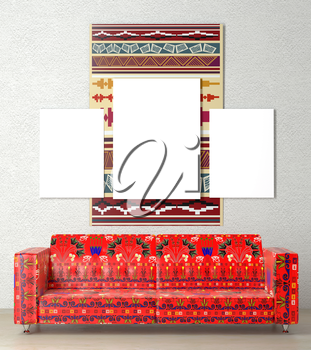 Mock up interior. Bright wall hanging ethnic, tribal style. In the center of the room a soft sofa with red ethnic ornament. Plastered walls. 3d rendering.