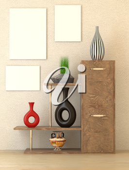 Mock up interior. Wooden cabinet with shelves, art of ethnic style vase on the shelves. Green grass in a vase on a shelf. 3d rendering.