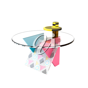 Cute bright colorful table in the style of Memphis on a white background. Memphis table with glass tabletop. 3D illustration