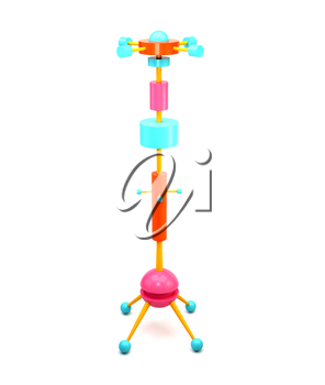 3D illustration of brightly colored wooden clothes hangers in the Memphis style. The modern trend style. Memphis hanger on a white background