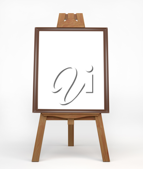Vintage wooden easel painter, standing on the floor. Easel with empty brown and white ramkay blank canvas. Membership of the artist. 3d illustration