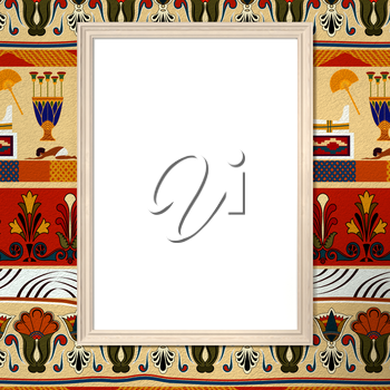 Bright frame with blank canvas on a bright background with the Egyptian ethnic ornament. Tribal background. 3d rendering.