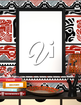 Mock up interior. Books on a wooden table. Bright African plate and the lamp with traditional ornaments. Wooden frame with blank canvas on a bright background with tribal ornaments. 3d rendering.