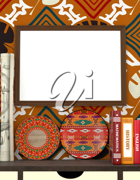 Mock up interior. Books on a wooden table. Bright African plate. Wooden frame with blank canvas on the background the wall with colorful wallpaper, tribal style.. 3d rendering.
