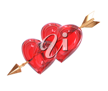 Two Red heart pierced by a golden arrow isolated on white background. Cupid's arrow. 