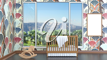 Children's bedroom with baby cot. 3d illustration. Render of a children's room with a bed and a landscape