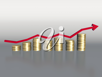 Royalty Free Clipart Image of an Arrow Over Money