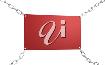 Royalty Free Clipart Image of a Sign Held by Chains