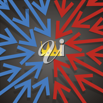 Royalty Free Clipart Image of a Background of Arrows Pointing to a Crown