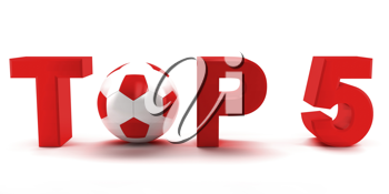 Royalty Free Clipart Image of Top 5 With a Soccer Ball