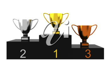 Royalty Free Clipart Image of a Trophies on a Podium