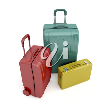Travel bags and briefcase on white background