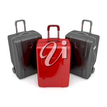 One red and two black travel bags - difference concept