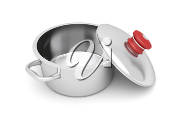 Empty cooking pot on white background