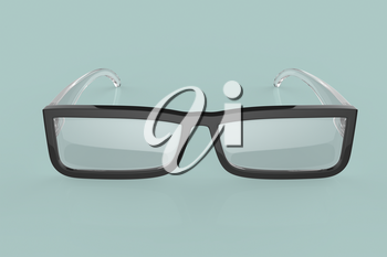 Front view of eyeglasses on green background