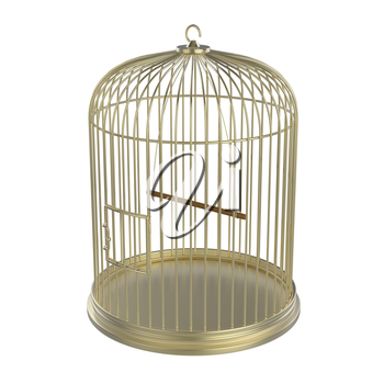 Golden bird cage isolated on white background