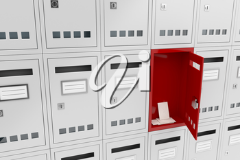 Concept image with one open mailbox