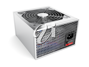 Silver computer power supply on white background