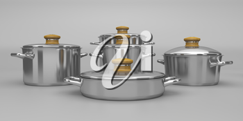 Set of stainless steel pots