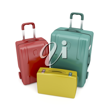 Two travel bags and one briefcase in different colors