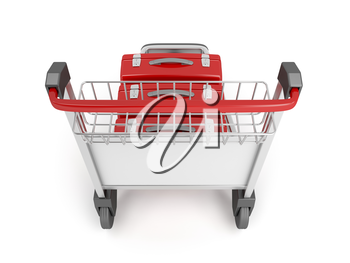 Royalty Free Clipart Image of an Airport Trolley With Luggage