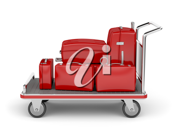 Royalty Free Clipart Image of a Luggage Cart With Suitcases