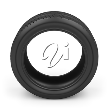 Automobile tire on white background