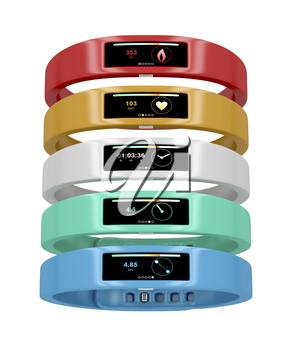 Activity trackers with different interfaces and colors