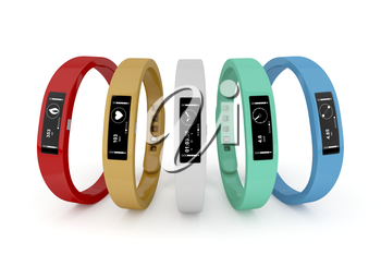 Five fitness trackers with different interfaces and colors