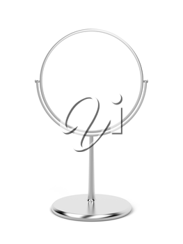 Silver makeup mirror on white background