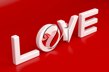 Word love with red heart on shiny red background