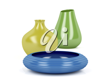 Set of colorful vases and bowl