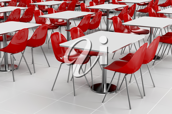 Empty cafeteria with modern minimalistic furniture