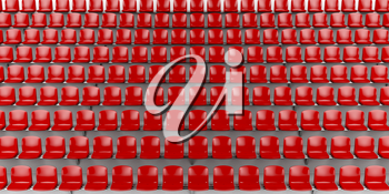 Red seats at the football stadium