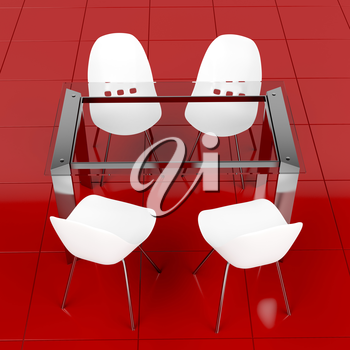 Dining set with modern glass table and white minimalistic plastic chairs