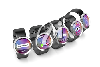 Group of smartwatches with different interfaces