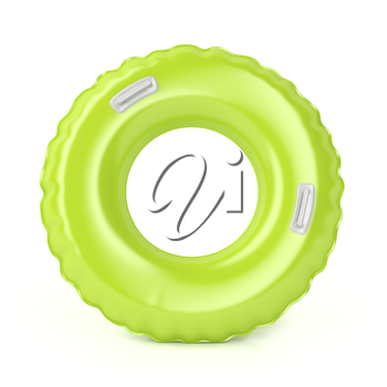 Green swim ring with handles on white background