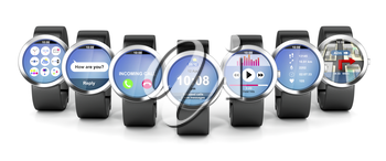 Group of smart watches with different apps