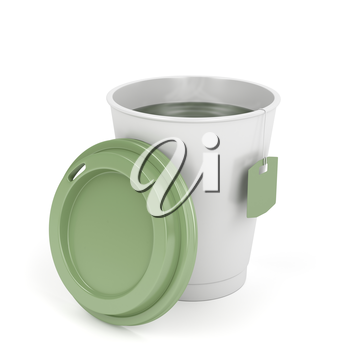 Opened paper tea cup on white background
